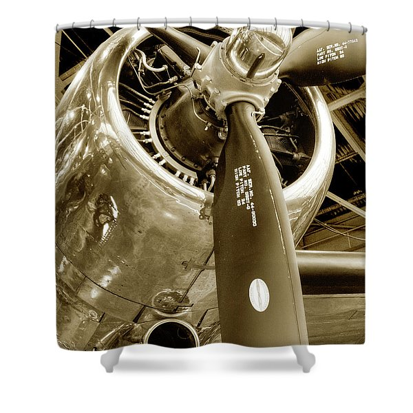 Stunning Propeller In Sepia Shower Curtain