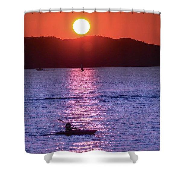 Shower Curtain featuring the photograph Stunning Sunset At Lake Champlain, Vt by Sven Kielhorn