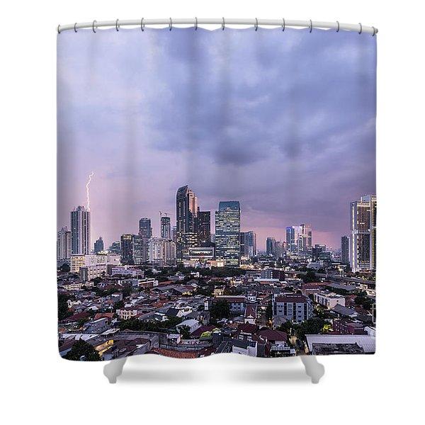 Stunning Sunset Over Jakarta, Indonesia Capital City Shower Curtain