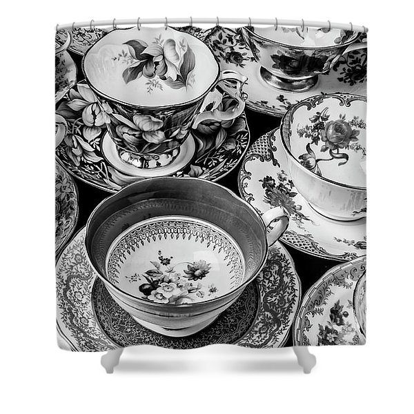 Stunning Tea Cups In Black And White Shower Curtain