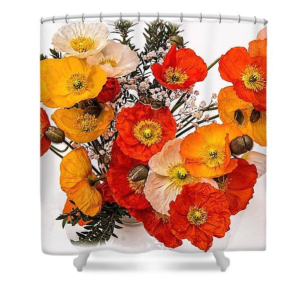 Stunning Vibrant Yellow Orange Poppies  Shower Curtain