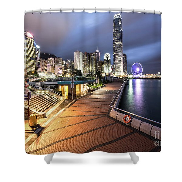 Stunning View Of Hong Kong Central Business District Skyscrapers Shower Curtain