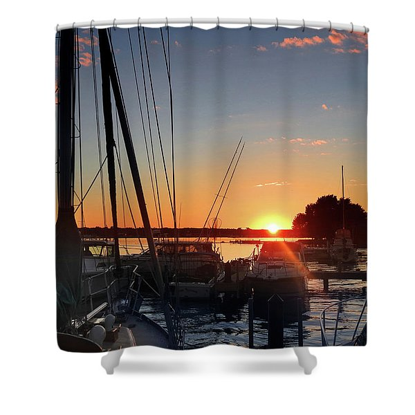 Sturgeon Bay Sunset Shower Curtain