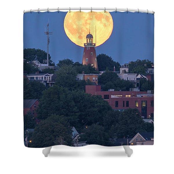 Sturgeon Moon Over Portland Observatory Shower Curtain