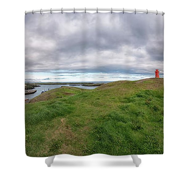 Shower Curtain featuring the photograph Stykkisholmur Harbor Pano by Tom Singleton