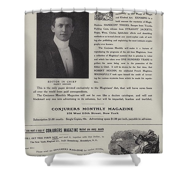 Subscription Form For Conjurers Monthly Magazine, Editor In Chief Harry Houdini, Circa 1906 Shower Curtain