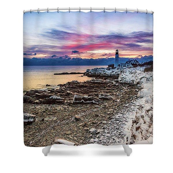 Subtle Sunrise At Portland Head Light Shower Curtain