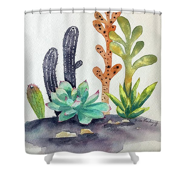 Succulents Desert Shower Curtain