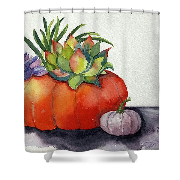 Succulents In Pumpkin Shower Curtain