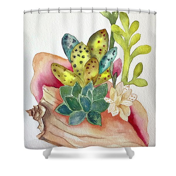 Succulents In Shell Shower Curtain