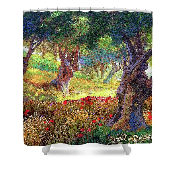 Tranquil Grove Of Poppies And Olive Trees Shower Curtain