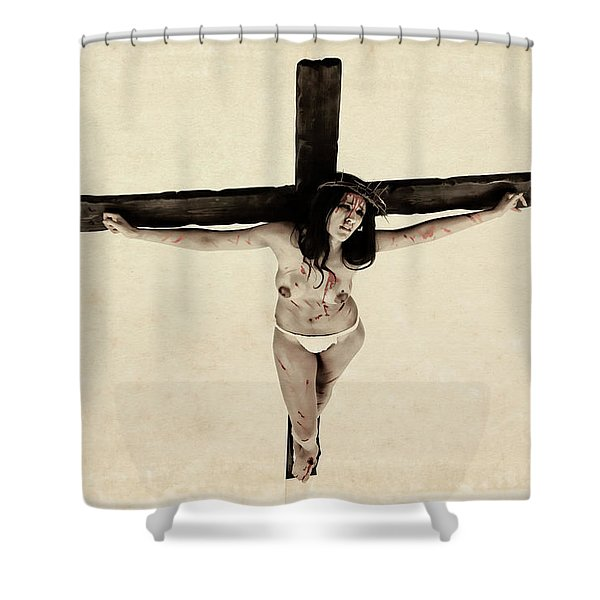 Suffering Of A Woman On Cross Shower Curtain