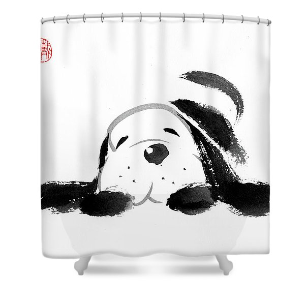 Sumi-e Dog Shower Curtain