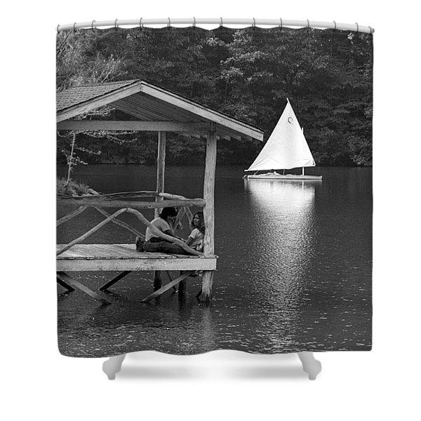 Summer Camp Black And White 1 Shower Curtain