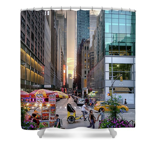 Summer Evening, New York City  -17705-17711 Shower Curtain