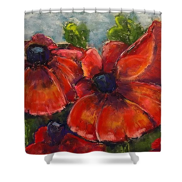 Summer Field Of Poppies Shower Curtain