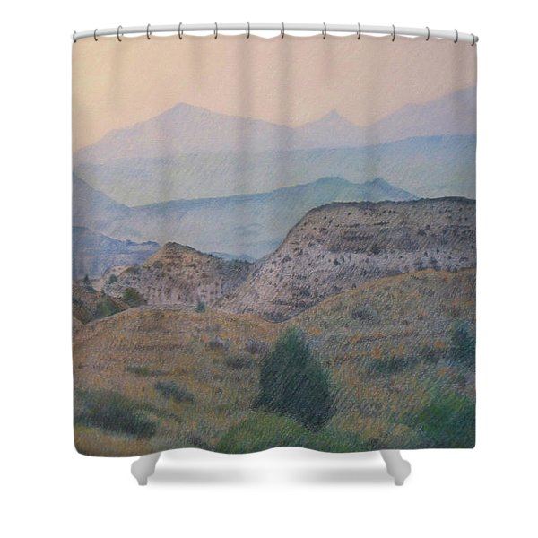 Shower Curtain featuring the drawing Summer In The Badlands by Cris Fulton