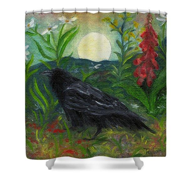Summer Moon Raven Shower Curtain