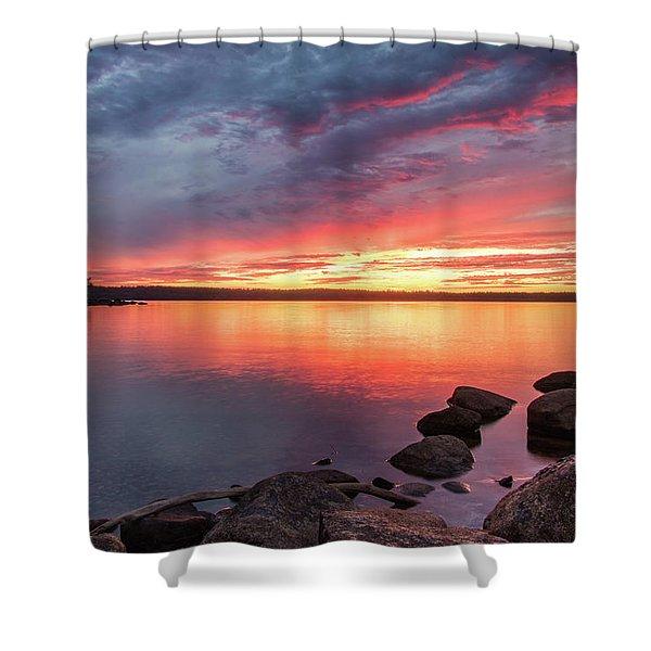 Summer Sets Over Sebago Lake, Maine Shower Curtain