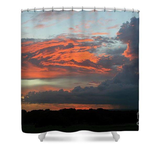 Summer Sky On Fire  Shower Curtain
