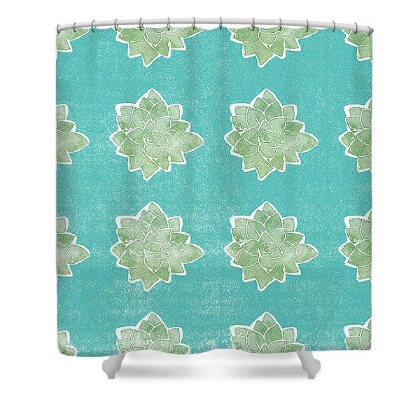 Summer Succulents- Art By Linda Woods Shower Curtain