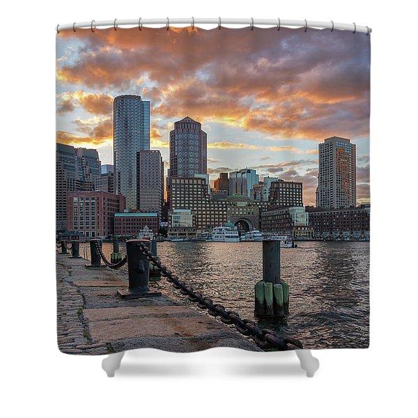 Summer Sunset At Boston's Fan Pier Shower Curtain