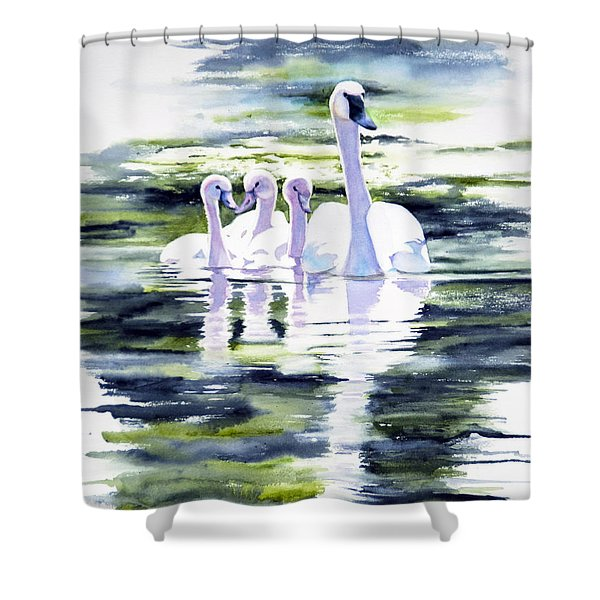 Summer Swans Shower Curtain