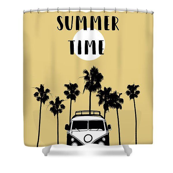 Summer Time Yellow Shower Curtain