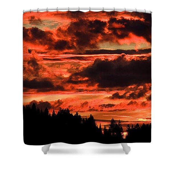 Summer's Crimson Fire Shower Curtain