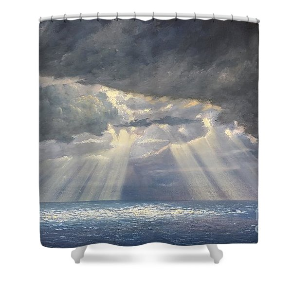 Shower Curtain featuring the painting Storm Subsides by Rosario Piazza