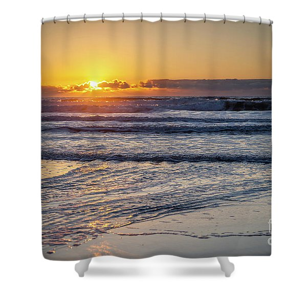 Sun Behind Clouds With Beach And Waves In The Foreground Shower Curtain