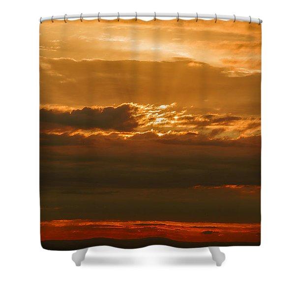 Sun Behind Dark Clouds In Vogelsberg Shower Curtain