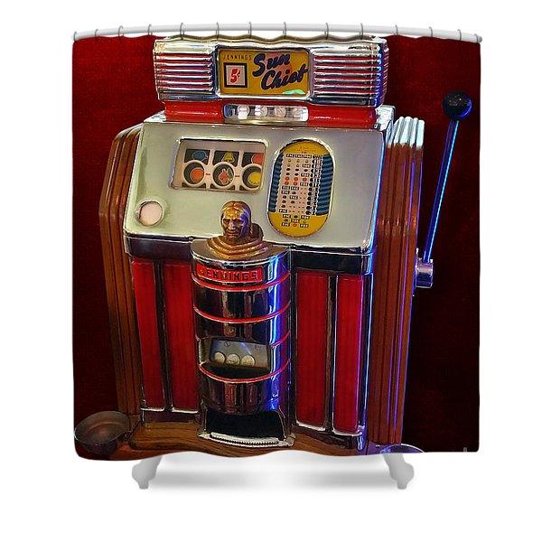 Sun Chief Vintage Slot Machine Shower Curtain