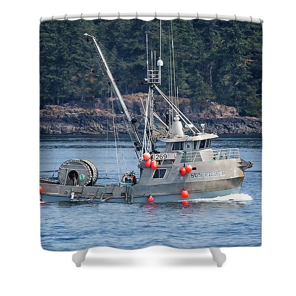 Sun Fisher Off Campbell River Shower Curtain