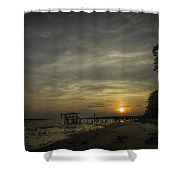Sun Going Down Behind Dock Shower Curtain