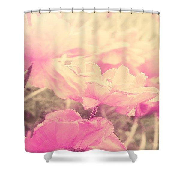 Sun Haze Poppies Shower Curtain