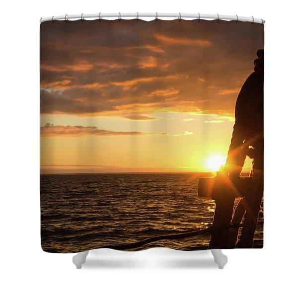 Sun On The Horizon Shower Curtain