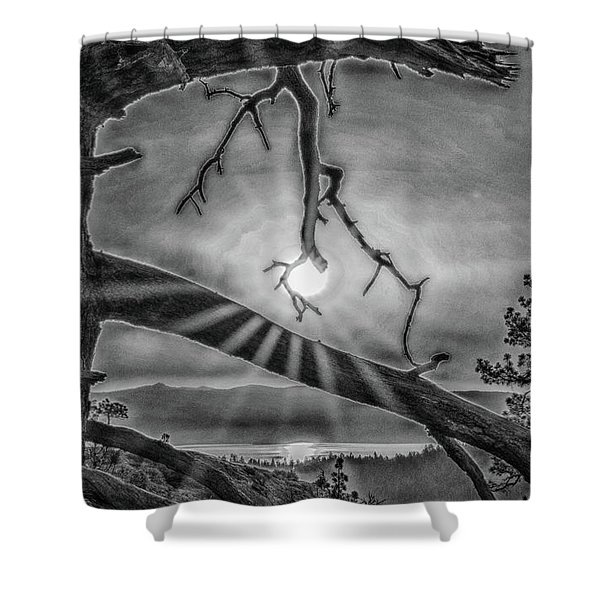 Sun Ornament - Black And White Shower Curtain