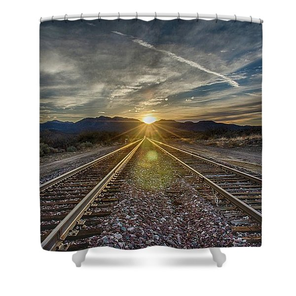 Sun Sets At The End Of The Line Shower Curtain