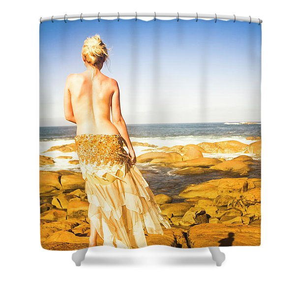 Sunbathing By The Sea Shower Curtain