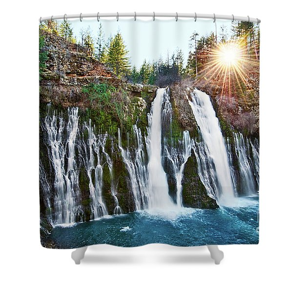 Sunburst Falls - Burney Falls Is One Of The Most Beautiful Waterfalls In California Shower Curtain