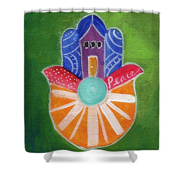Sunburst Hamsa Shower Curtain