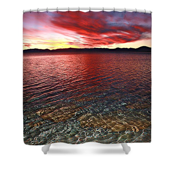 Shower Curtain featuring the photograph Sundown...the Water's Edge by Sean Sarsfield