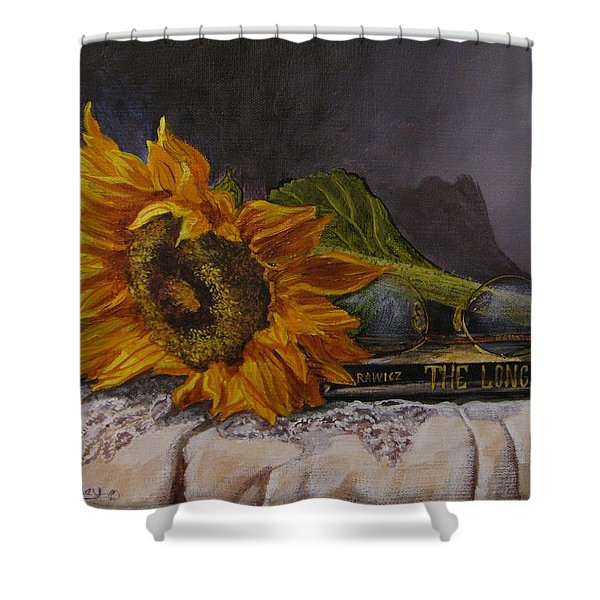 Sunflower And Book Shower Curtain