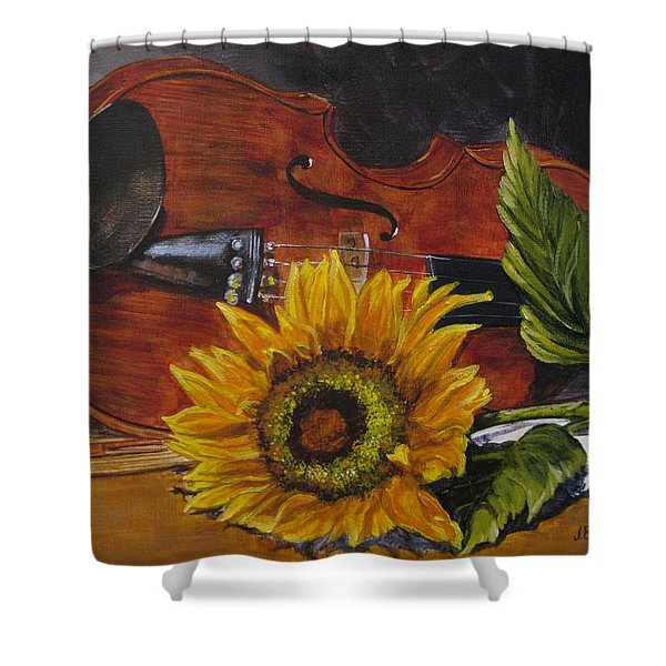 Sunflower And Violin Shower Curtain