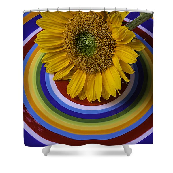 Sunflower On Circle Plate Shower Curtain