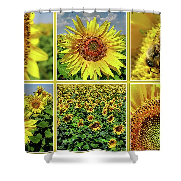 Sunflower Story - Collage Shower Curtain