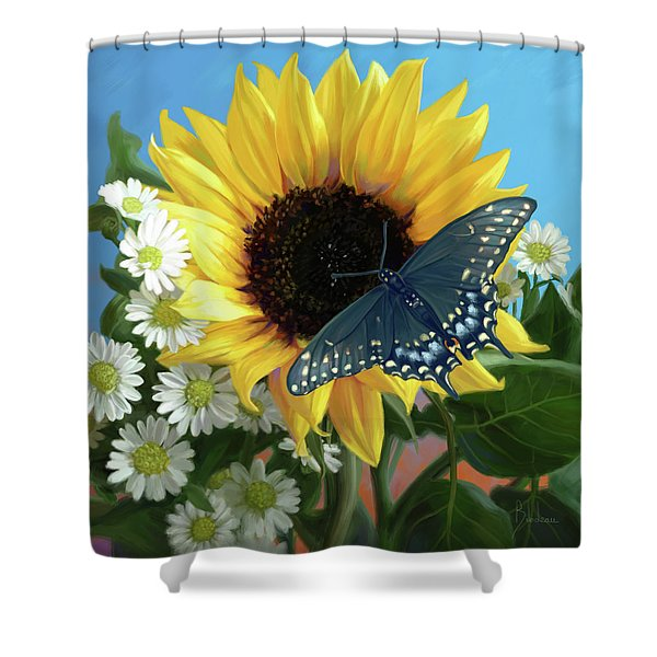 Sunflower With Butterfly Shower Curtain