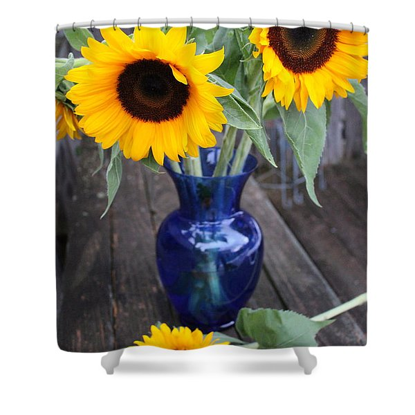 Sunflowers And Blue Vase - Still Life Shower Curtain
