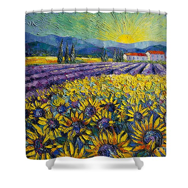 Sunflowers And Lavender Field - The Colors Of Provence Modern Impressionist Palette Knife Painting Shower Curtain